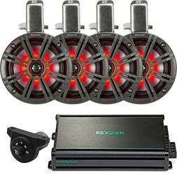 "4 Kicker 6.5"" Marine Speaker Systems  - 4-Channel Amp - Blue"