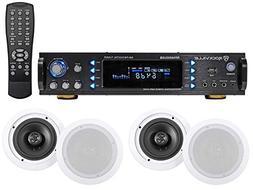 "4) 6.5"" Commercial Ceiling Speaker System+Amplifier/Receiver"
