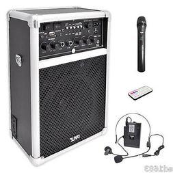 """6"""" 2-Channel PA Speaker System 400W w/ 2 Wireless Microphone"""