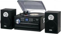 JENSEN JTA-475B 3-Speed Stereo Turntable with CD System, Cas