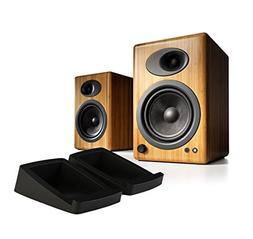 Audioengine A5Plus Bamboo Pair w/ DS2 Stands 2-way Speaker S