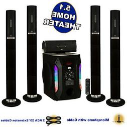 Acoustic Audio AAT1002 Tower 5.1 Speaker System with Mic Pow