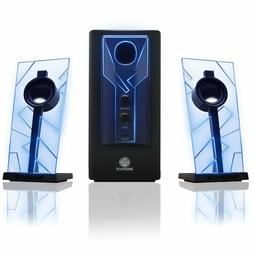 GOgroove BassPULSE Computer Speaker System with Blue LED Glo