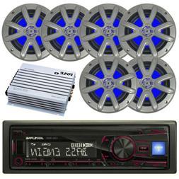 "Clarion Marine 1-DIN Receiver, 6 x 6.5"" Marine LED Speakers,"