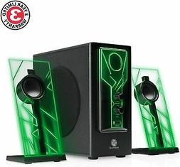 GAMING Glowing Computer Speakers Desktop Surround Sound Audi