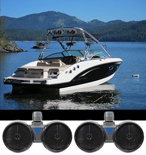 "2) Rockville DWB80B Dual 8"" Black 1600w Marine Wakeboard Tow"