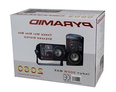 4) NEW PYRAMID 2060 600W 3-Way Mini Box Speakers