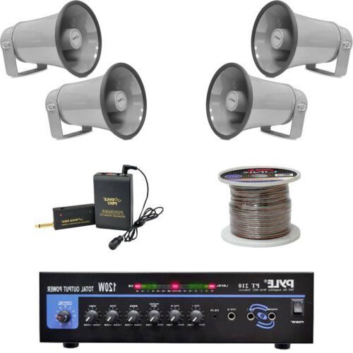 """8.1"""" PA Horn Speakers, MONO Mic Amplifier, Speaker Wiring, L"""