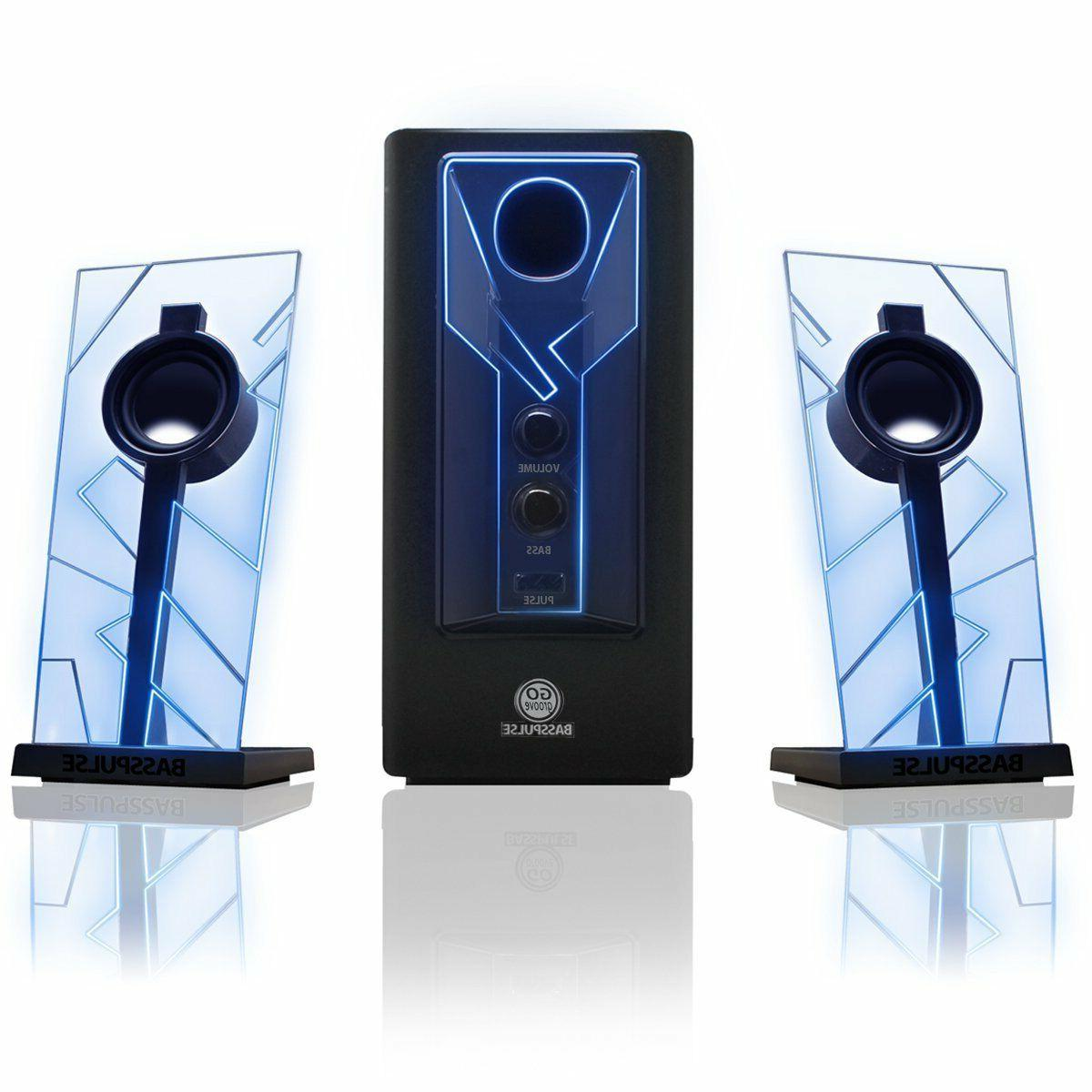 GOgroove BassPULSE Glowing Blue LED Computer Speaker Sound S