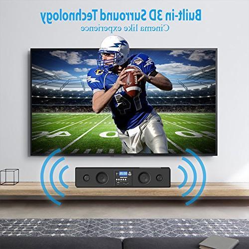 Pyle Bluetooth Soundbar Bass Speakers Compatible to TV, USB, SD, Radio Input Remote For TV, -