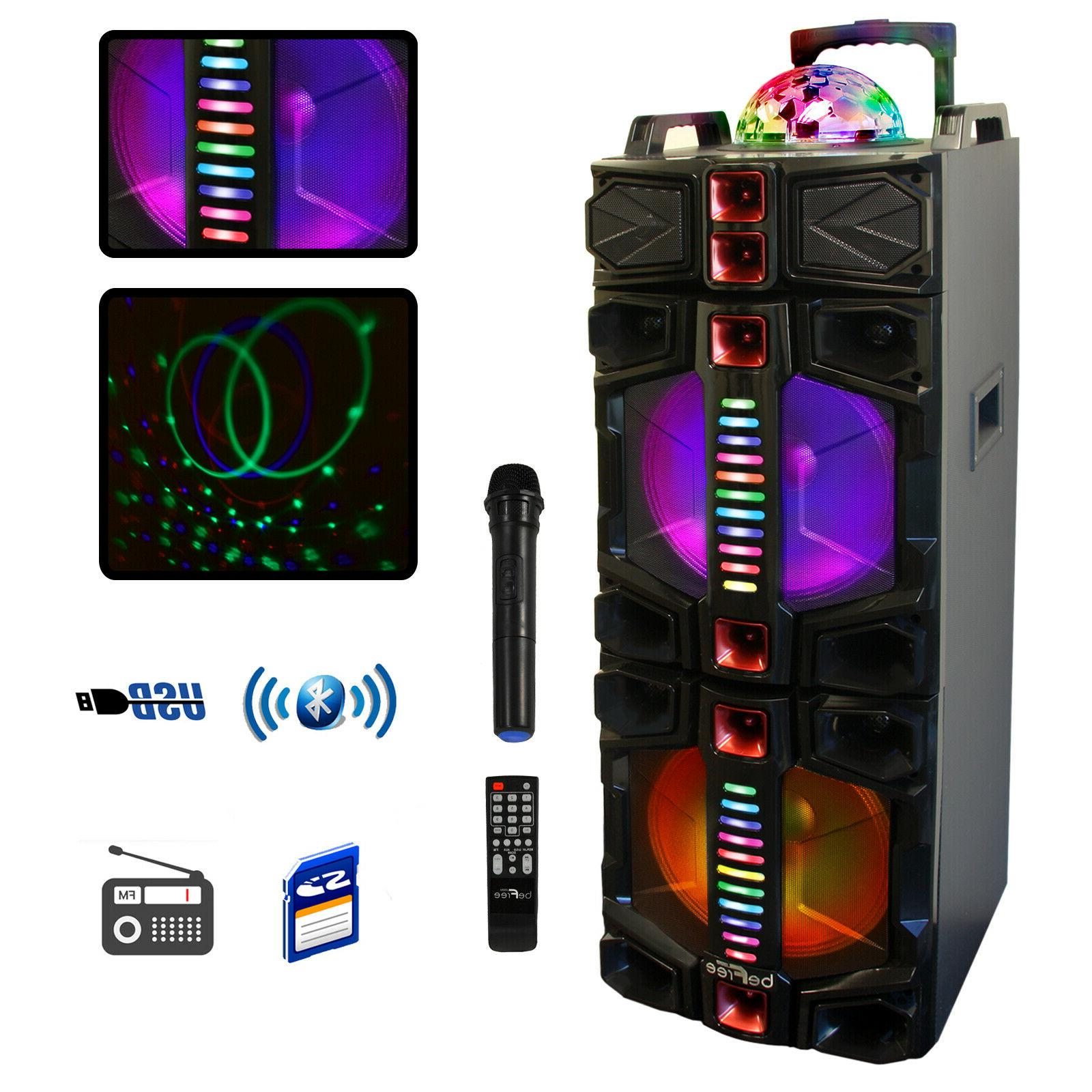 dual subwoofer bluetooth portable party