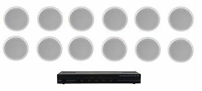 HOME AUDIO WHOLE HOUSE SPEAKER SYSTEM- 12 CEILING SPEAKERS 6