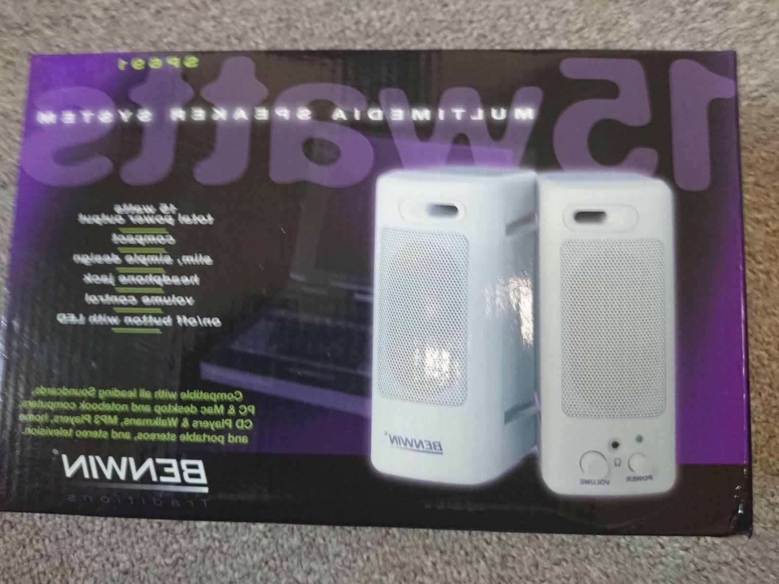 Benwin Multi media Mini-speaker system -  15W, PC, Mac, CD,