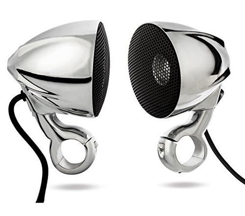 NOAM NMC3 - Waterproof Motorcycle/ATV Chrome Speakers Blueto