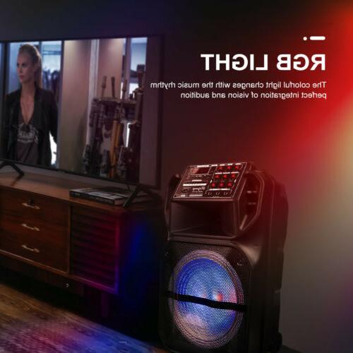 Portable Bluetooth Speaker Subwoofer Bass DJ Mic AUX FM