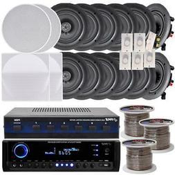 "NEW Pyle 6-room In-Ceiling 5.25"" Speaker System w/Receiver V"