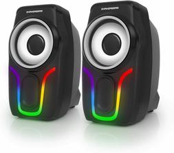 PC Surround Sound System LED Speakers Gaming Deep Bass USB L