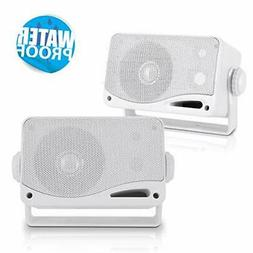 3-Way Weatherproof Outdoor Speaker Set - 3.5 Inch 200W Pair