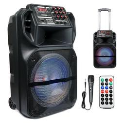 """Portable 15"""" Bluetooth Speaker Subwoofer Heavy Bass Party"""